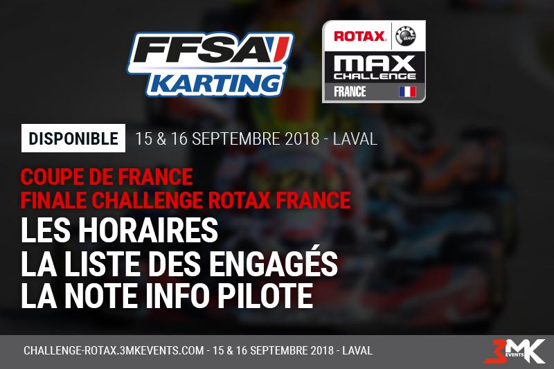 Coupe de France / Challenge Rotax France 2018 : Les Infos